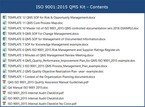 Iso 9001 Templates Free by Iso 9001 2015 Qms Kit