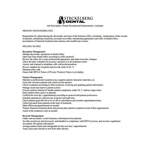 Although an undergraduate degree is not required for every administrator role, some employees do prefer to hire college graduates. 9+ Dental Assistant Job Description Templates - Free Sample, Example, Format Download! | Free ...
