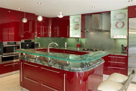 Interior: Divine Image Of L Shape Red Kitchen Design And
