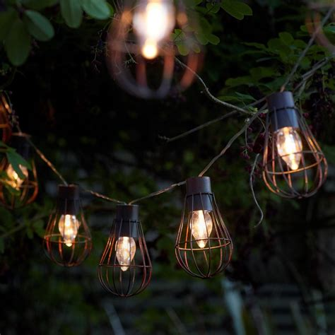 rustic lantern lights auraglow set of 10 rustic metal solar string bulb lanterns 2066