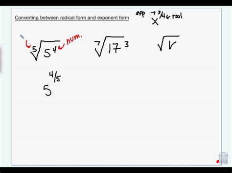 write expression in exponential form converting between radical form and exponent form wmv