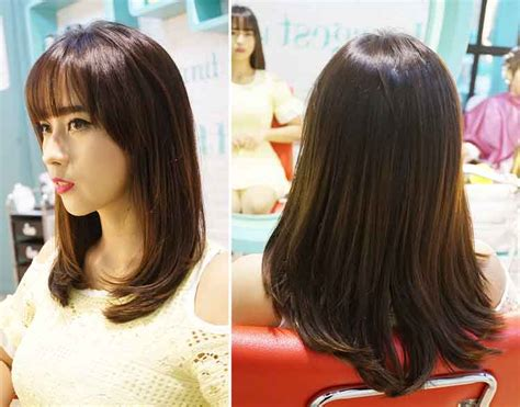model rambut smoothing pendek sebahu panjang april