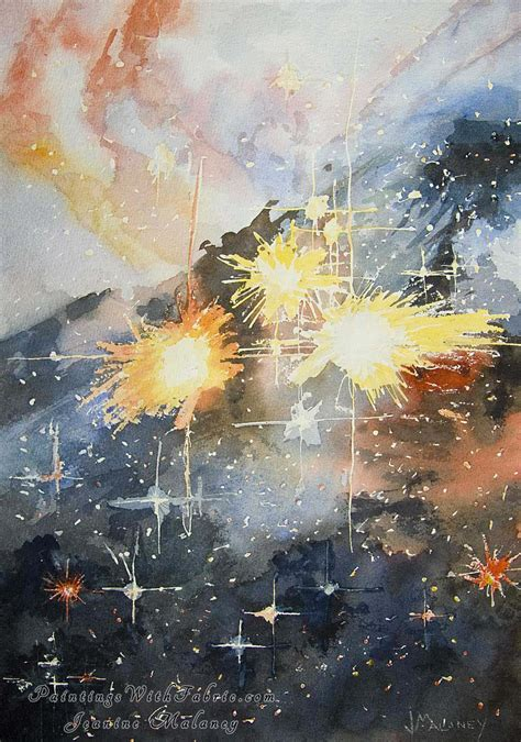 cosmic fireworks watercolor painting