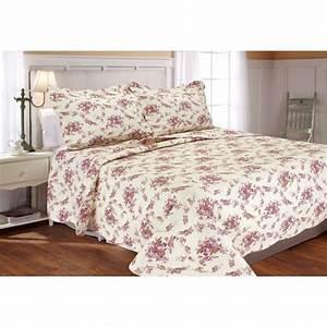 Textiles, Plus, Vintage, Rose, Quilt, Set