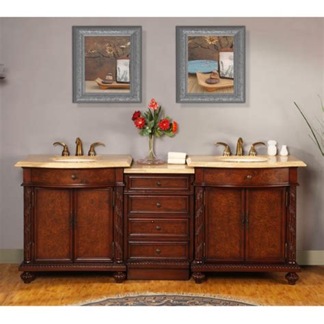 84 inch led lighted sink vanity with travertine