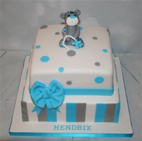 square bluegrey christening cake