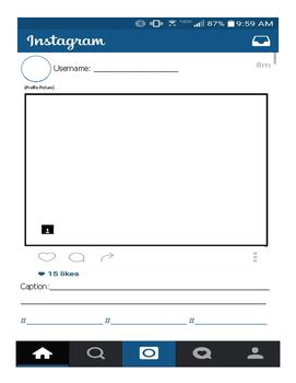 blank instagram template instagram blank visual template by mrs squiggle tpt