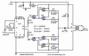 Cd4017 100-watt Inverter 12dc To 220ac