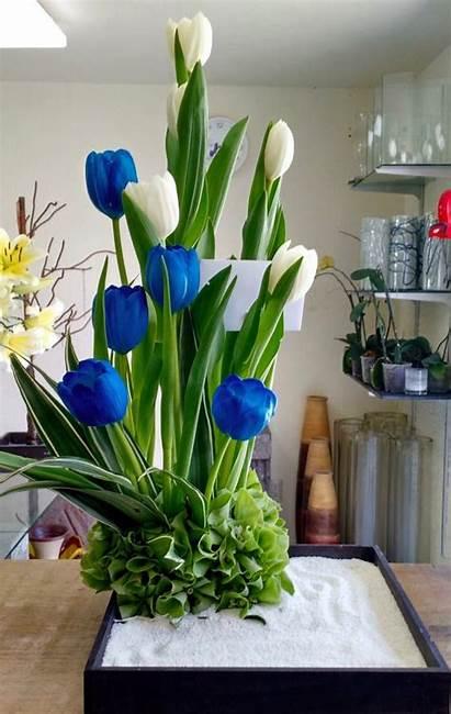 Tulipanes Azules Blancos Arreglo Floral Arreglos Florales