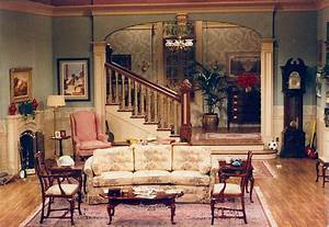 setting for scenes 3 4 and 5 a rich 198039s living room With 1980s living room furniture