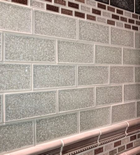 crack  cream crackle glass subway tile