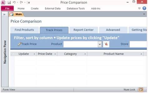 desktop price comparison template  access