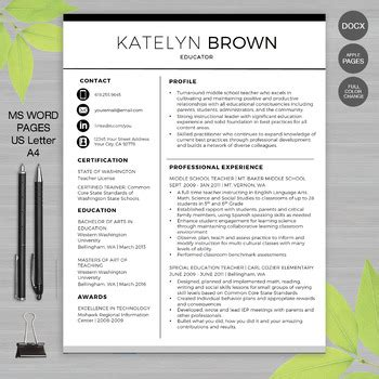 Resume Writing Templates Word by Resume Template Ms Word Apple Pages Educator