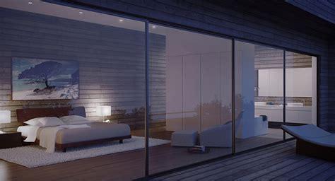 glass walled modern bedroom  night interior design ideas