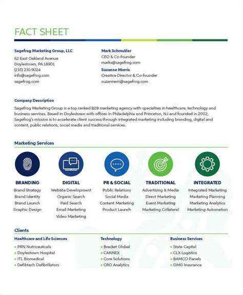 fact sheet templates  ms word pages google