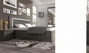 Chambre Complete Adulte 160x200 : chambre adulte complete couleur chene noir contemporaine darcia ~ Teatrodelosmanantiales.com Idées de Décoration