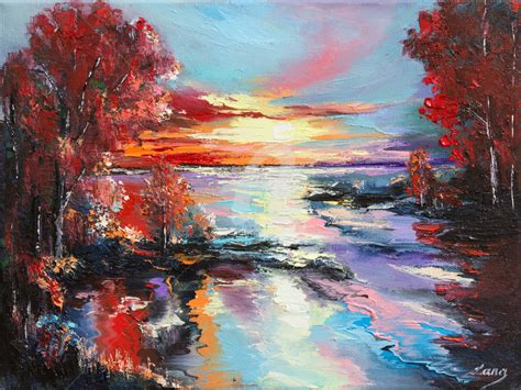 Sunset in autumn's reflection Painting by Lana   Artmajeur