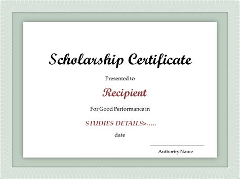 scholarship certificate template scholarship certificate template excel xlts