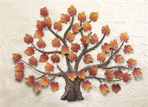 Tree Wall Decor Metal by 3d Metal Maple Tree Wall Sculpture Fall Autumn Brown