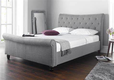 King Bed Frame Gray by Seville Upholstered Sleigh Bed Grey King Size Beds