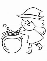 Coloring Cauldron Pages Witch Popular Stirring Printable sketch template