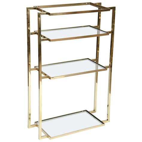 brass wall shelf wall mounted four shelf brass vanity for at 1stdibs