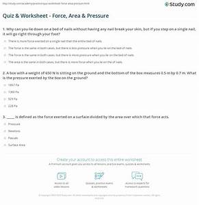 Worksheet On Force And Pressure For Class 8