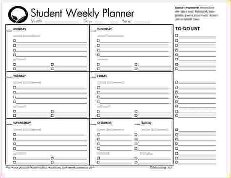 student planner template 6 student planner printable memo formats