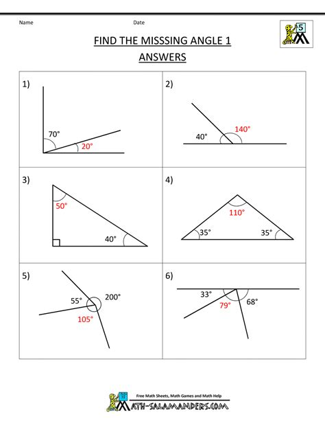 missing angle worksheet 5th grade geometry