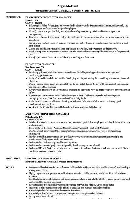 Front Desk Description For Resume by Front Desk Manager Resume Sles Velvet