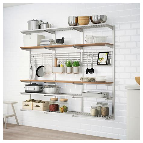kitchen rail storage kungsfors suspension rail with shelf wll grid stainless 2478