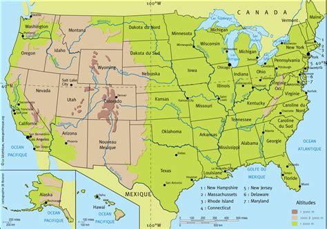Carte Etats Unis Canada Avec Villes by Carte Usa Fleuves 187 Vacances Arts Guides Voyages