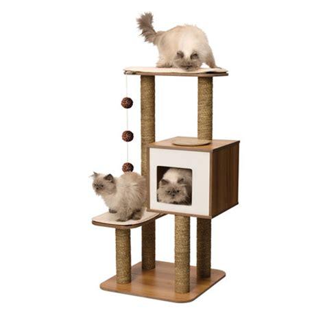 arbre 224 chat v high base en bois couleur noyer vesper 1021062 mondou