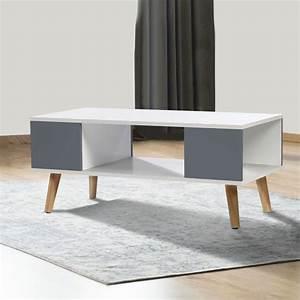Table Basse Blanche Et Grise : table basse effie scandinave bois blanc et gris meubles et am nage ~ Teatrodelosmanantiales.com Idées de Décoration