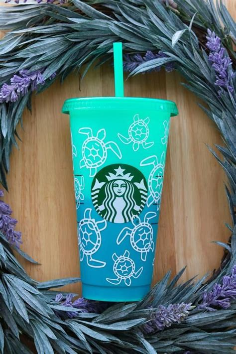 sea turtle custom starbucks color changing cup starbucks   custom starbucks cup