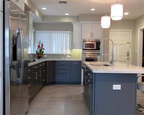 Hardwood Floors Light Cabinets by Modern Neutral White And Black Kitchen With Kitchen