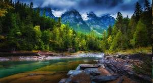 Mountain, Clouds, Forest, River, Trees, Spring, Green, Nature, Landscape, Wallpapers, Hd, Desktop