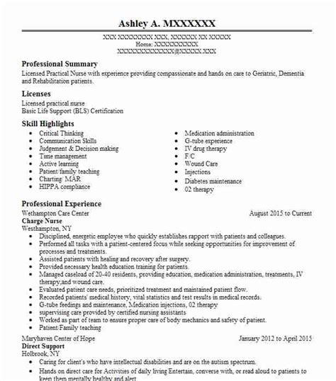 Resume Charges by Charge Resume Sle Nursing Resumes Livecareer