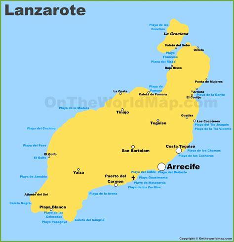 lanzarote maps canary islands spain map  lanzarote