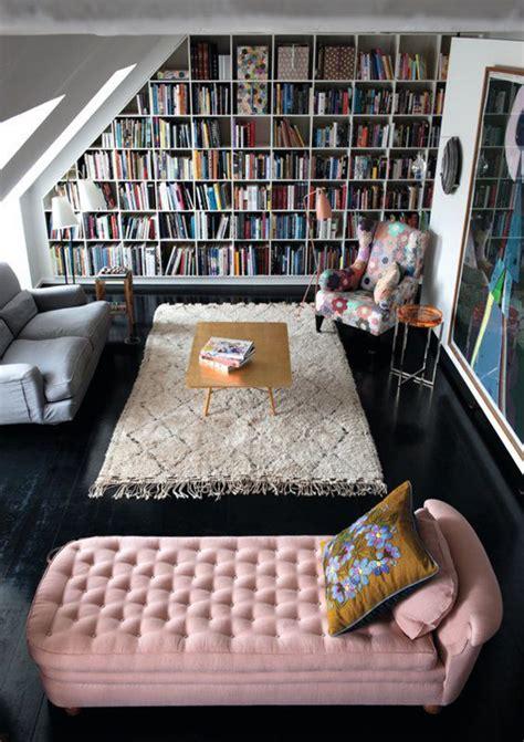 attic library design pink velvet attic library