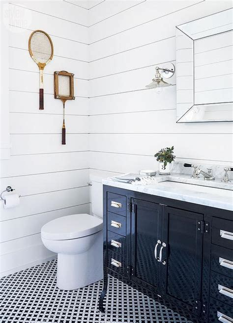 Black and White bathroom with Marble and Glass Washstand