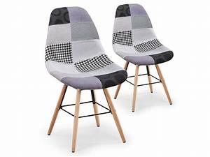 Conforama Chaise Scandinave : lot de 2 chaises scandinaves lisa patchwork gris vente ~ Teatrodelosmanantiales.com Idées de Décoration