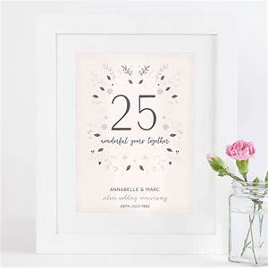Silver Wedding Anniversary Personalised Print By Norma