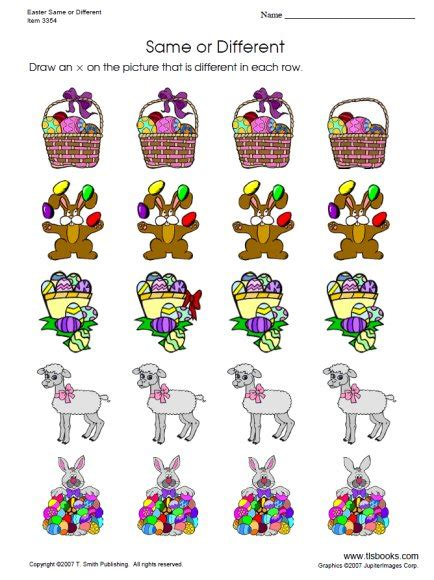 Easter Same Or Different Worksheet