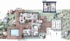 maison ossature bois a etage 184 m2 5 chambres plans With plan maison avec jardin interieur 6 plan garage ossature bois pour un garage deux places