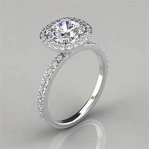 french cut pave cushion cut halo engagement ring With wedding rings halo style