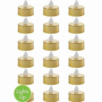 Candles Gold Flameless Led Metallic Tealight 18ct