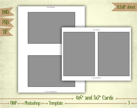 1 4 page card template cards 4x6 and 5x7 digital collage sheet