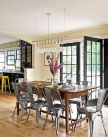 farmhouse table with metal chairs for the home