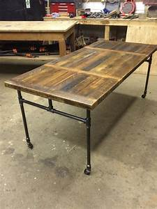 Expanding Dining Table with Cast Iron Pipe Legs Iron